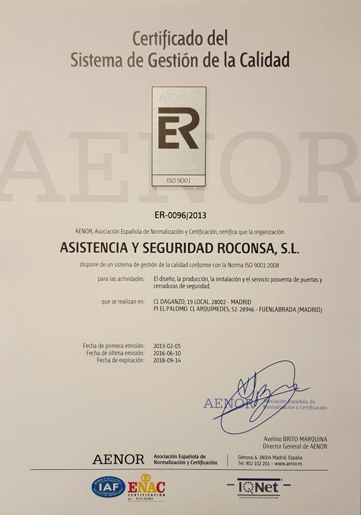 ISO 9001 2016-2018 CERTIFICACIÓN AENOR