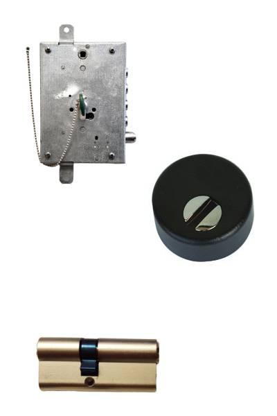 Cerradura + Escudo + cilindro anti-bumping  + embellecedores en CROMO  (opcionales embellecedor cilindro y manivela)