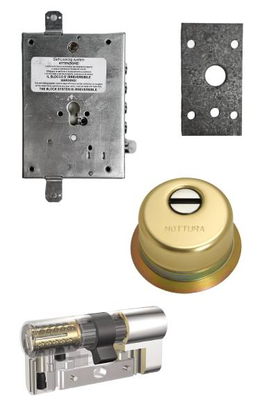 Cerradura 600nw + bloqueo + Escudo GA + placa + Kaba VDSBZ  (opcionales embellecedor cilindro y manivela)