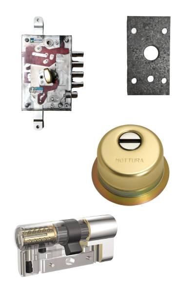 Cerradura 1000nw + bloqueo + Escudo GA + placa + Kaba VDSBZ  (opcionales embellecedor cilindro y manivela)
