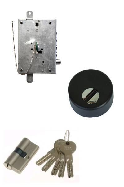 Cerradura de seguridad STD + Escudo + cilindro ISEO R7 anti-bumping  (opcionales embellecedor cilindro y manivela)