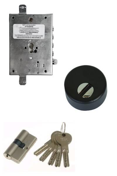 Cerradura 600nw + bloqueo + Escudo STD + ISEO R7 (opcionales embellecedor cilindro y manivela)