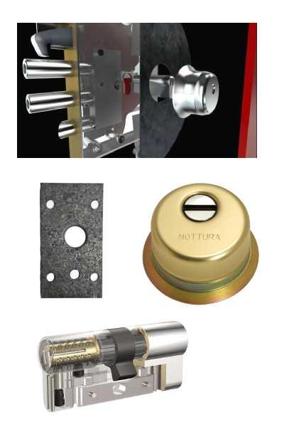 Cerradura ACO-PLUS + Escudo GA + placa + Kaba VDSBZ  (opcionales embellecedor cilindro y manivela)