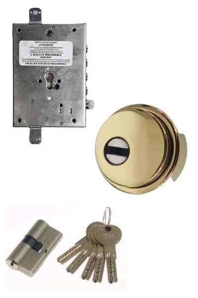 Cerradura 600nw + bloqueo + Escudo GM + ISEO R7 (opcionales embellecedor cilindro y manivela)