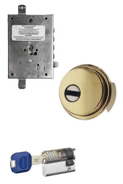 Cerradura 600nw + bloqueo + Escudo GM  + Kaba   (opcionales embellecedor cilindro y manivela)
