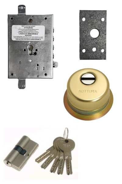 Cerradura 600nw + bloqueo + Escudo GA + placa + ISEO R7 (opcionales embellecedor cilindro y manivela)