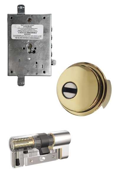 Cerradura 600nw + bloqueo + Escudo GM  + Kaba VDSBZ  (opcionales embellecedor cilindro y manivela)