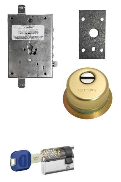 Cerradura 600nw + bloqueo + Escudo GA + placa + Kaba   (opcionales embellecedor cilindro y manivela)