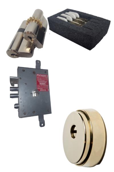 Escudo Gama Alta mod E3  + 2 Cilindros Kaba experT Plus Z14 + E15 con igualamiento y 5 llaves LK + Cerradura ACO-PLUS de GANCHO con cerrojos reforzados, 1000nw y Bloqueo
